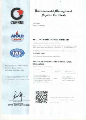 WTL ISO14001 Certificate